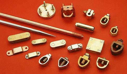 Copper Grounding Rods Bonded ground earthing grounding earth rods Brass Clamps Couplers and Accessories