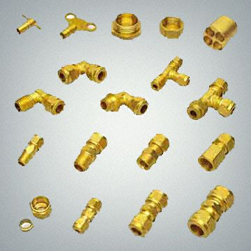 Brass and  S.S. compression and tube fittings available in various types single ferrule double ferrule  fittings Brass S.S.  stainless steel Aluminium manifolds   end caps tube fittings plugs bushes radiator keys clock type bleed keys plugs bushes small tees elbows and couplers Brass male fittings tube pipe hose  compression fittings with olives.
